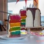 Vegan White Chocolate Vanilla Rainbow Cake