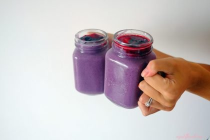 So healthy purple vegan spinach smoothie