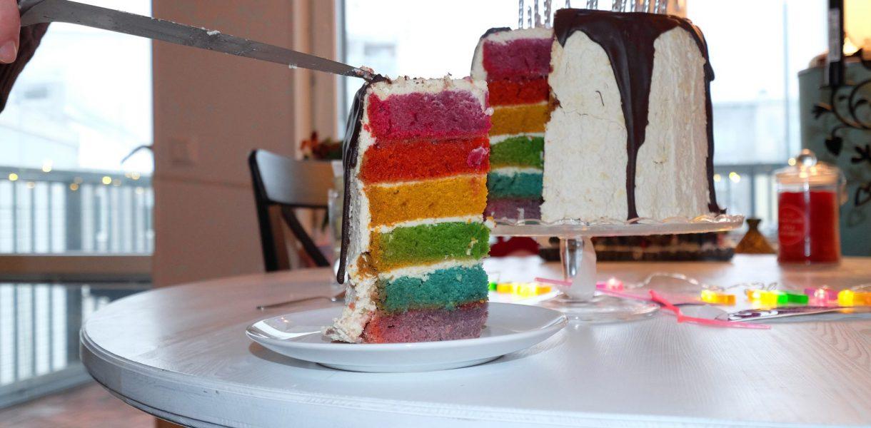 Not-For-The-Weak White-Chocolate Vanilla Vegan Rainbow Cake