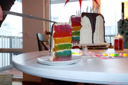 Not-For-The-Weak White-Chocolate Vanilla Vegan Rainbow Cake