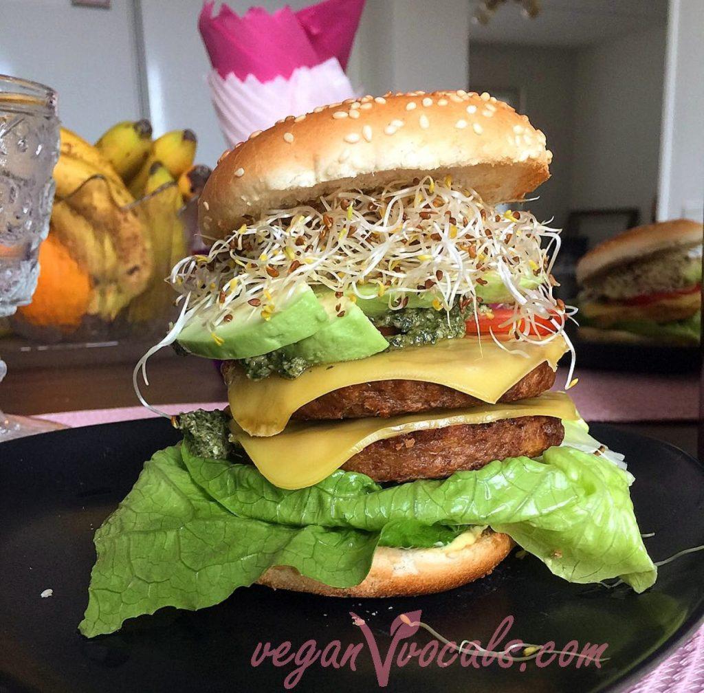 Vegan Pesto Sauce on a vegan double cheeseburger