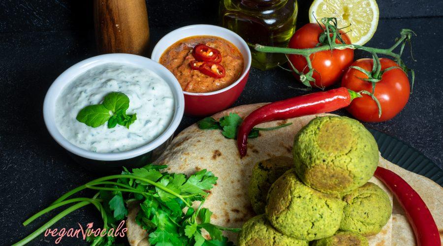 Herb-Packed Baked Pistachio Falafel & 3 vegan Dressings with homemade vegan flatbread