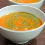 One Pot Tomato Vegan Soup with Basil Dressing