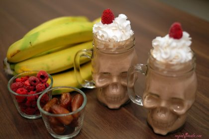 Peanut Butter & Raspberry Vegan Milkshake With Coco Whip