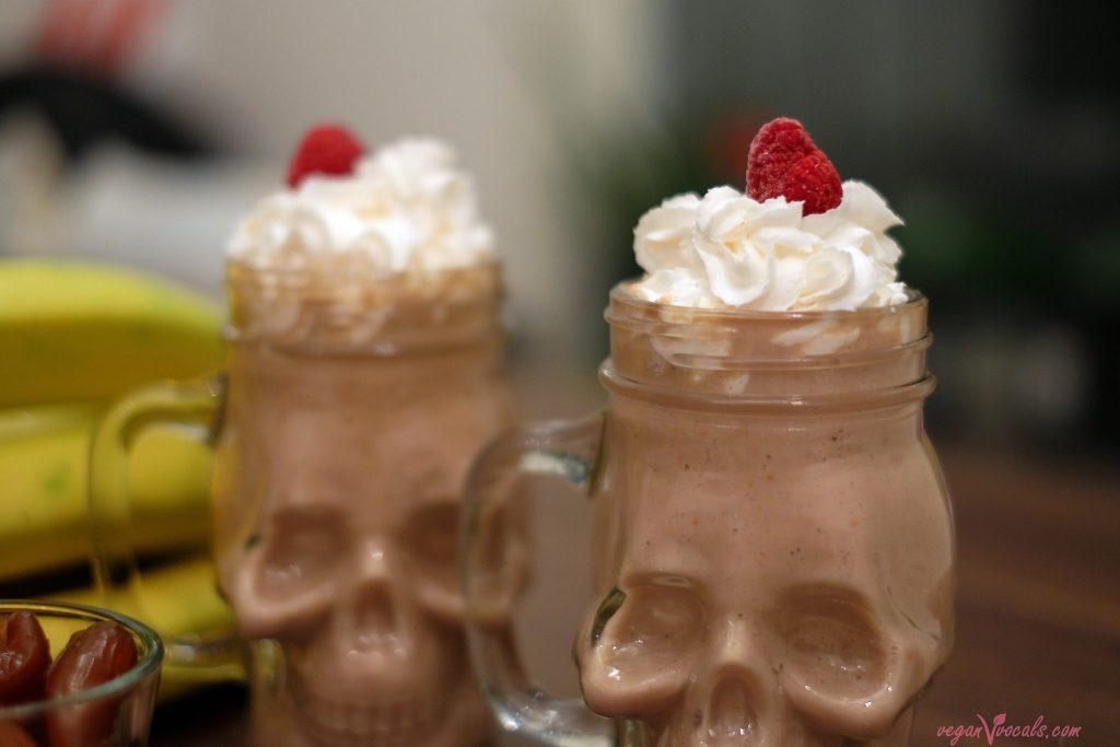 Peanut Butter & Raspberry Vegan Milkshake With Coco Whip