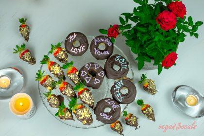 Vegan Chocolate Covered Strawberries with Healthy Vegan Chocolate Doughnuts