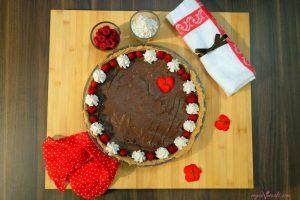 Vegan Dreamy Whipped Cream (Plain & Raspberry Flavoured) on vegan chocolate pie