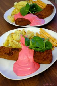 Vegan Pink Sauce - Beetalicious with our seitan steaks