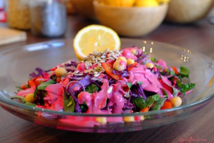 Vegan Red Cabbage Salad with Pink Creamy Dressing