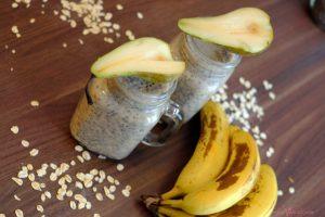 Overnight Vegan Pear & Banana Oat + Chia Pudding