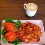 Beans in Tomato Cheezy Vegan Sauce with Salad