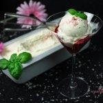 Vegan Basil-Infused Ice Cream with Strawberry Sauce