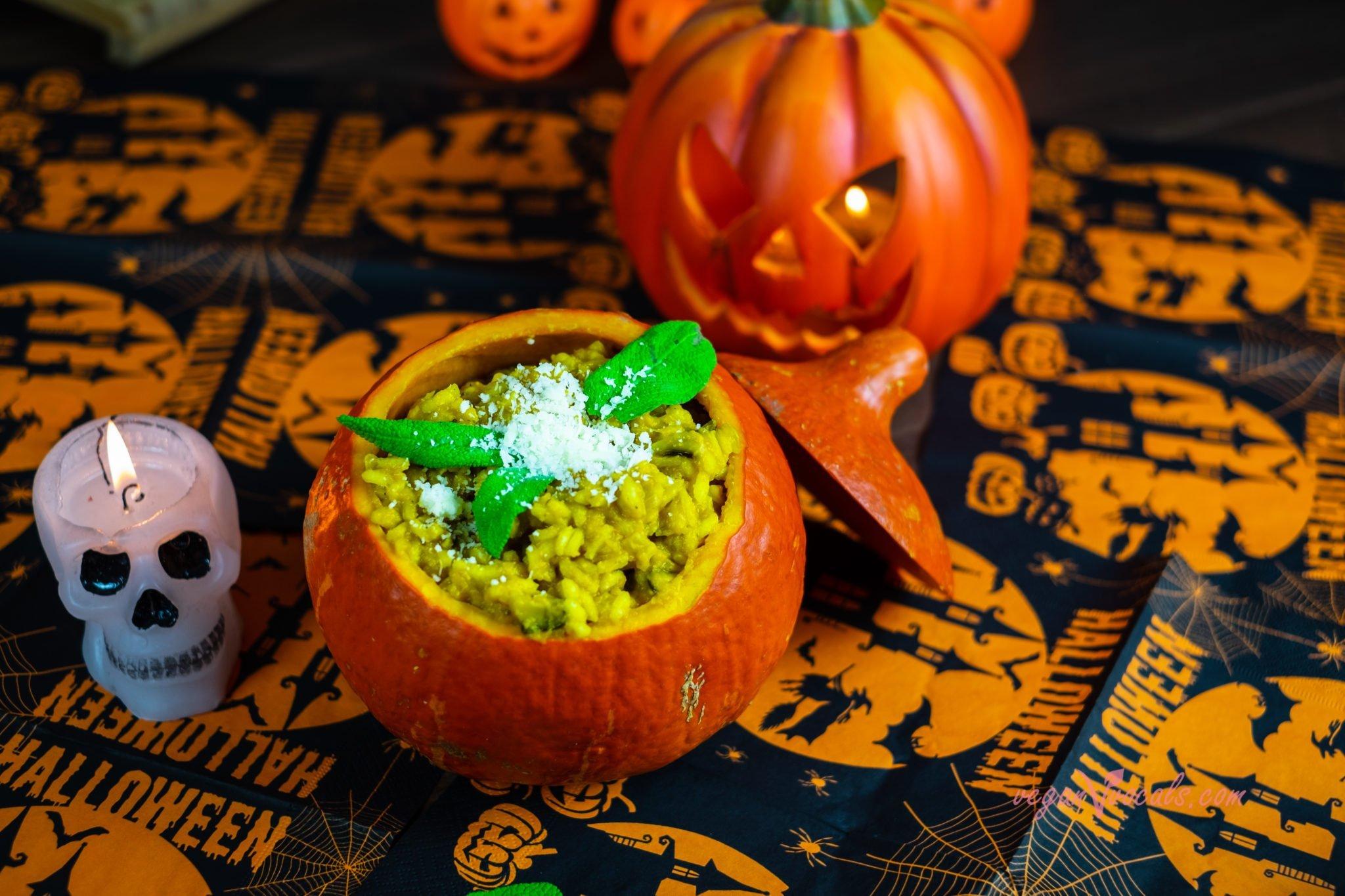Halloween Vegan Pumkin Risotto