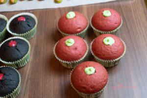 Halloween Vegan Liquorice Cupcakes with a Bloody Raspberry Inside