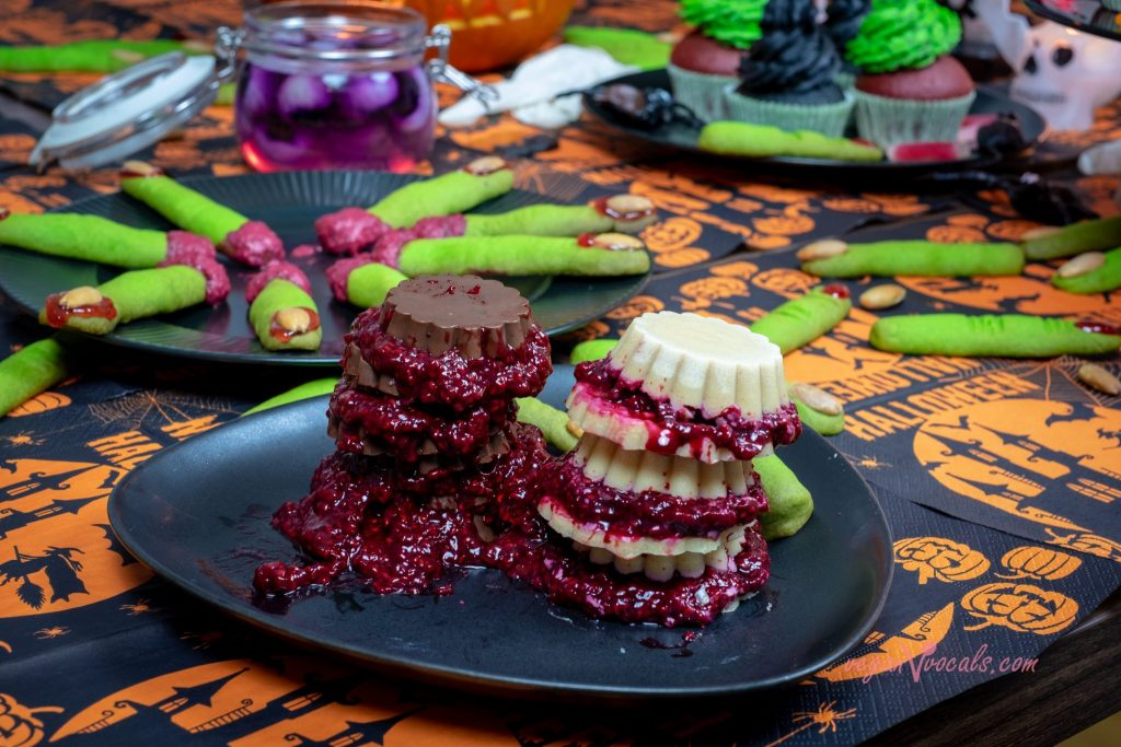 ourHalloween Vegan Liquorice Cupcakes w/ a Bloody Raspberry Inside,