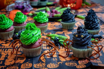 Halloween Vegan Liquorice Cupcakes with a Bloody Raspberry Inside