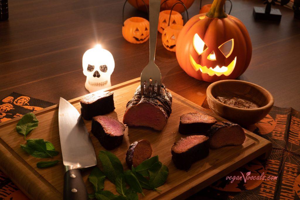 Halloween Sage & Rum Marinated Seitan Tenderloin