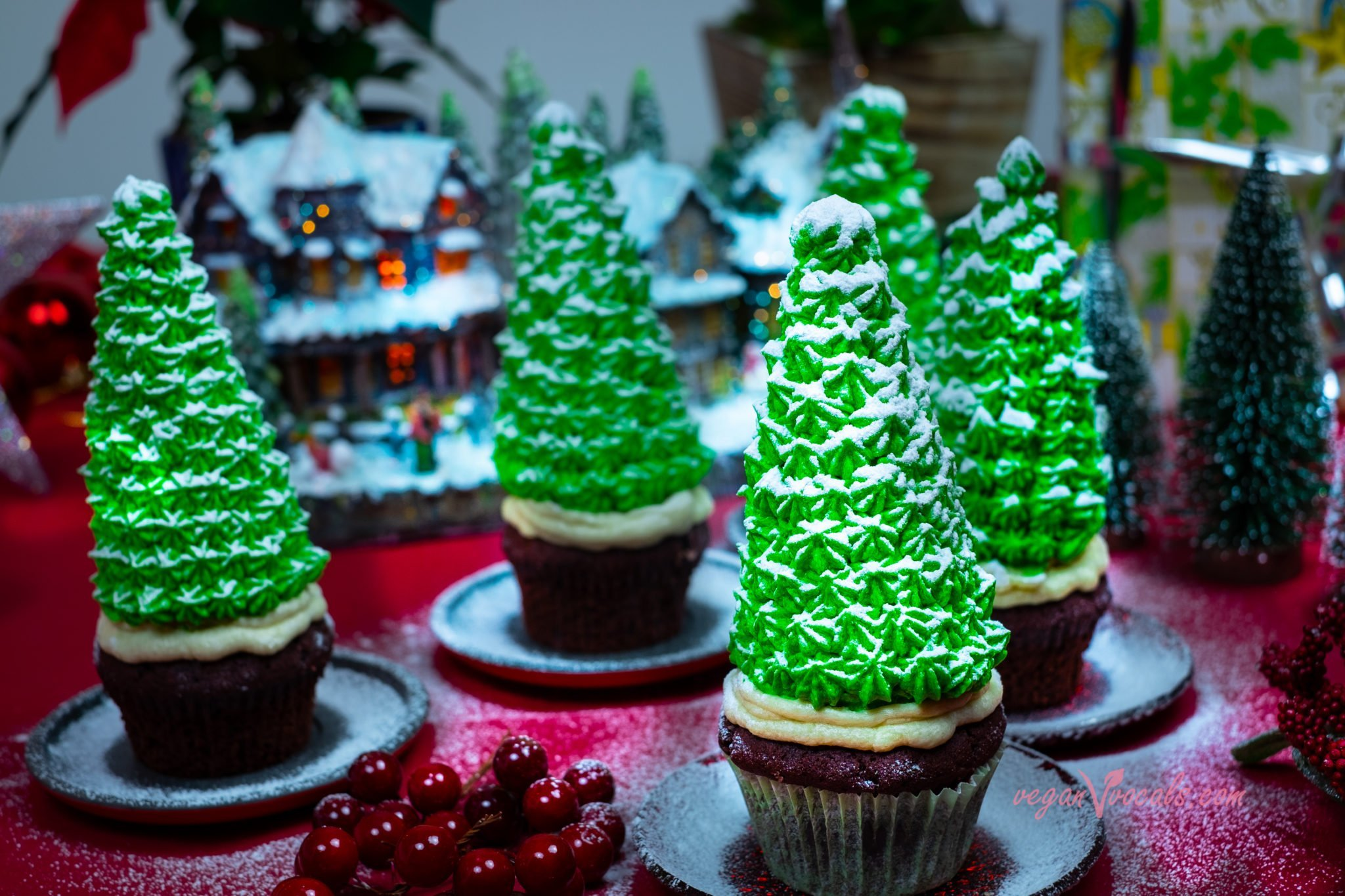 Vegan Christmas Tree Cupcakes (Red Velvet Cupcakes w/ Cream Cheese Frosting & Chocolate Covered Walnuts Filling)