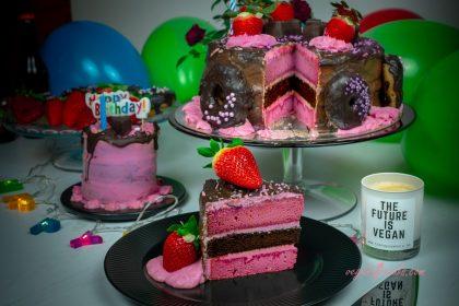 Vegan Chocolate & Strawberry Cake with Doughnuts - Hubby's Birthday Cake 2019