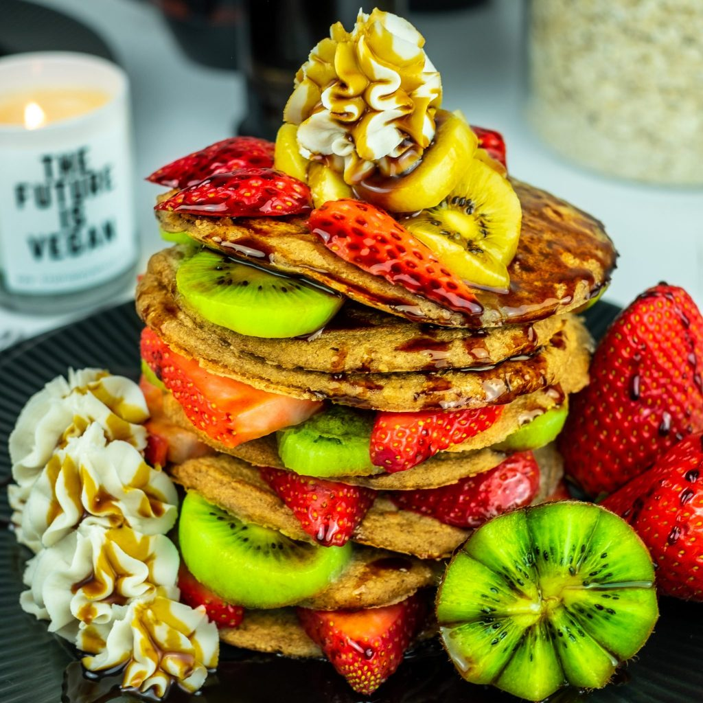 OATMEAL PANCAKES with our Amazing Classic Vegan Whipped Cream - So Creamy