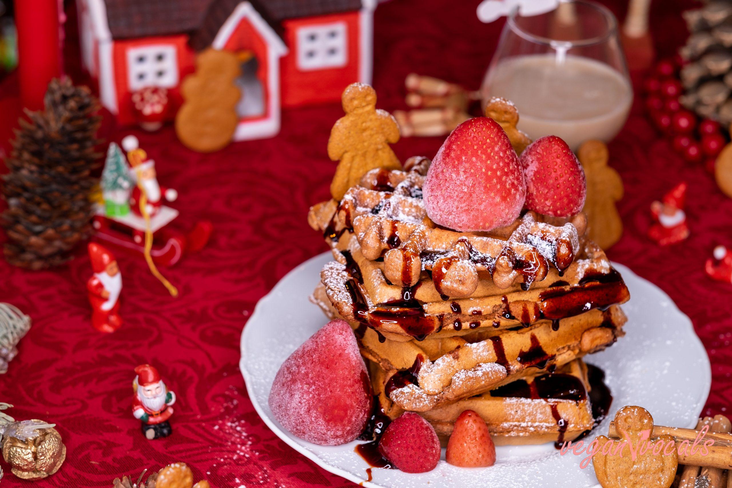 Crispy & Christmassy Vegan Gingerbread Waffles