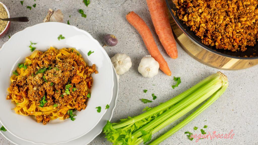 Vegan Bolognese with Tagliatelle
