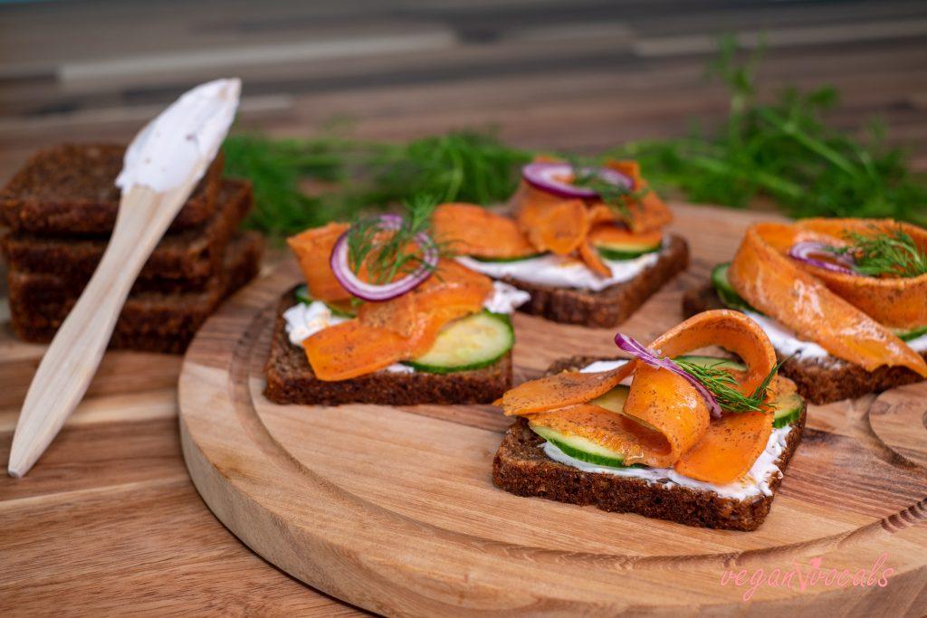 Vegan Smørrebrød with Carrot Lox