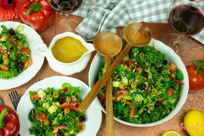 Kale Salad with Ginger-Miso Vinaigrette Dressing