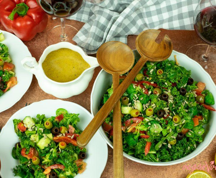 Kale Salad with Ginger-Miso Vinaigrette Dressing