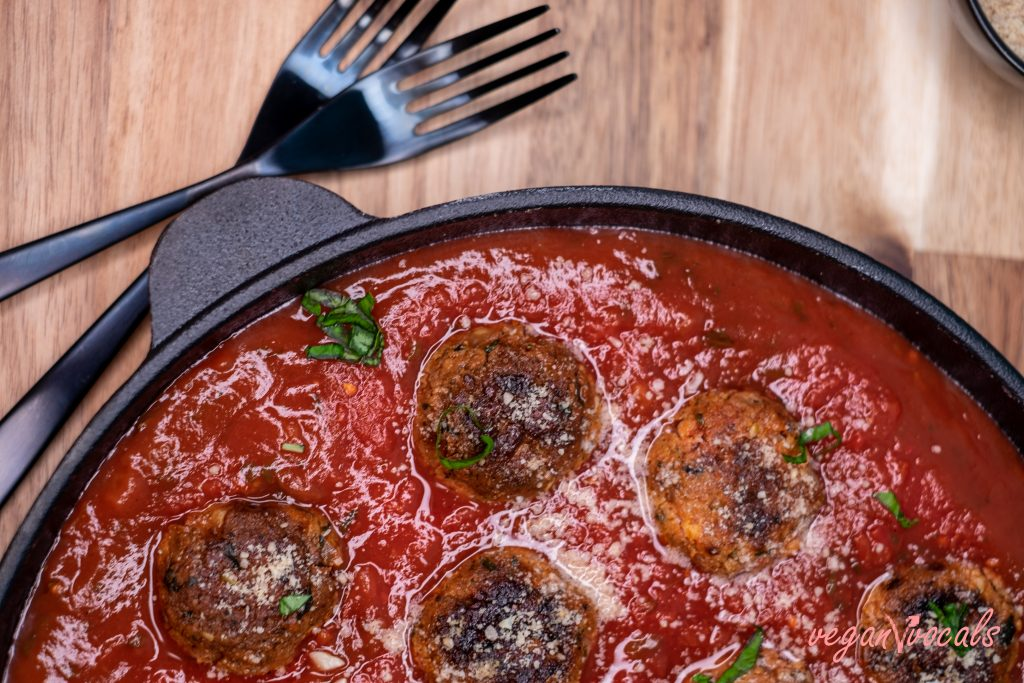 GF & Vegan Italian Meatballs in Rustic Tomato Sauce