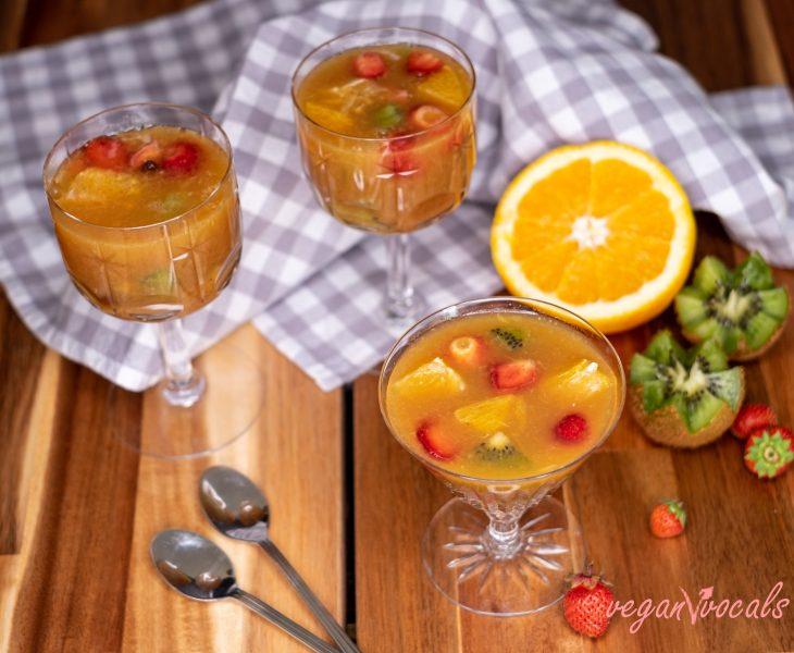 Gelatina Vegana de Naranja con Frutas Saludable