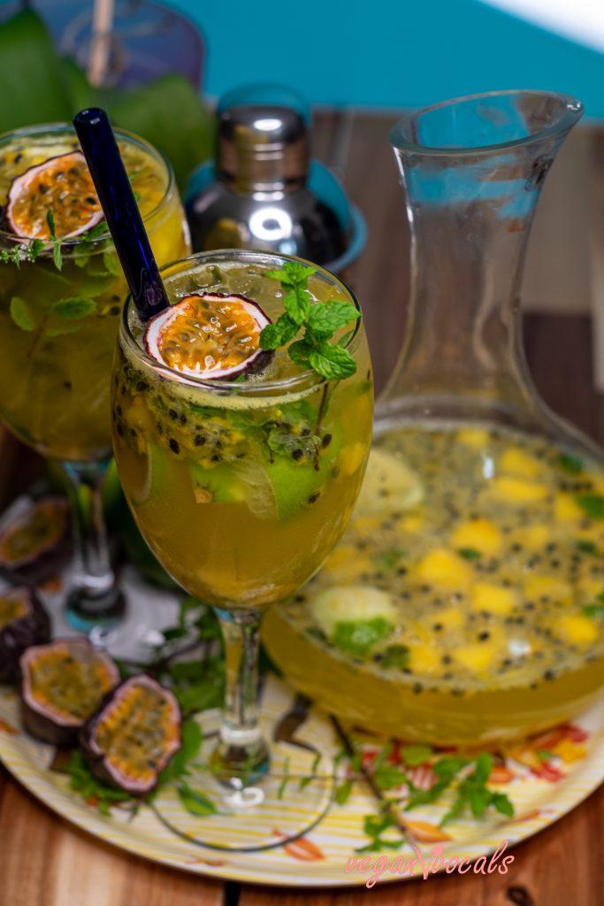 Vegan & Sugar-Free Mango & Passion Fruit Mojitos